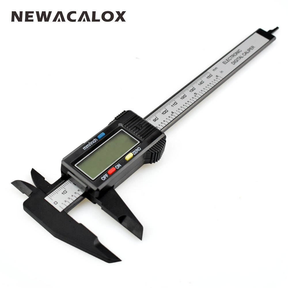NEWACALOX Vernier Caliper 6 0-150mm/0.1mm Carton Fiber Composites Calipers Gauge Micrometer with Extra-Large LCD Screen polymer composites for microelectronic applications