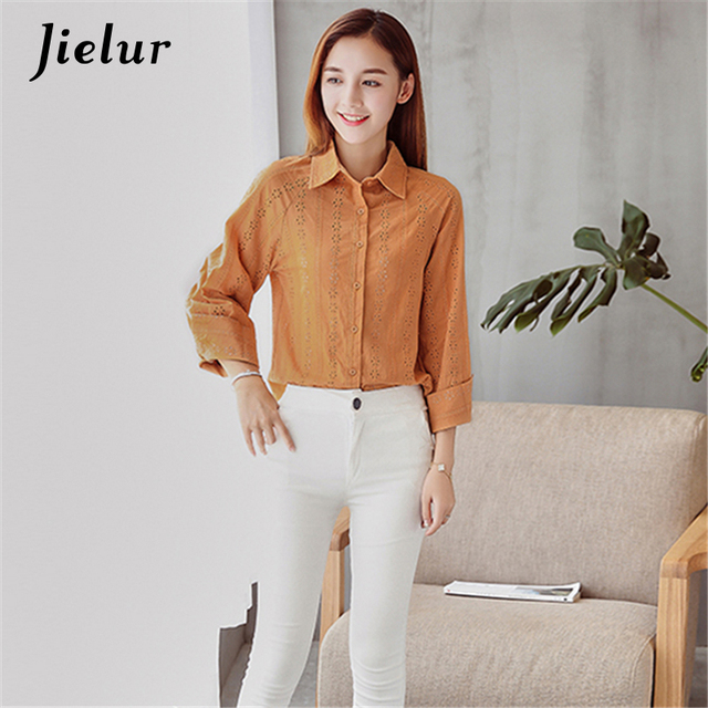 5983850b9 Novo Lazer Outono Camisa das Mulheres Simples Moda Casual Blusas de Manga  Longa Mulheres Brancas Blusa
