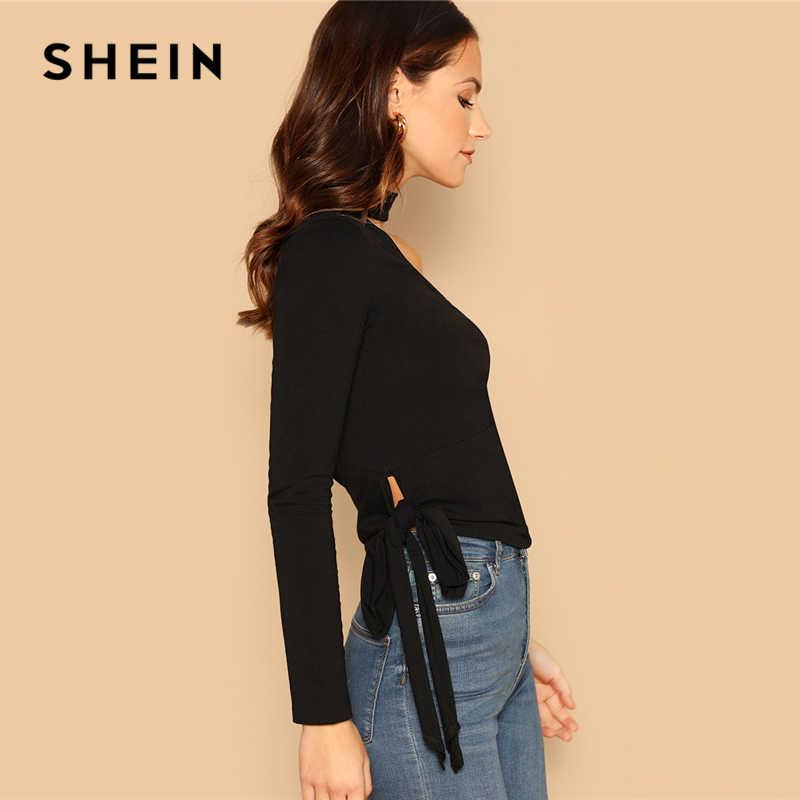8e0edd3a05f ... SHEIN Black Choker Neck One Shoulder Knot Side Top Party Long Sleeve  Plain Halter Slim Fit ...