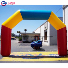2018 new design colorful 8*4m inflatable racing match archway , oxford cloth finish line arch for running game