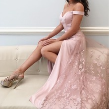 Pretty Blush Pink Lace Prom Dresses With Lace Overskirt Long High Side Split Prom Gown V