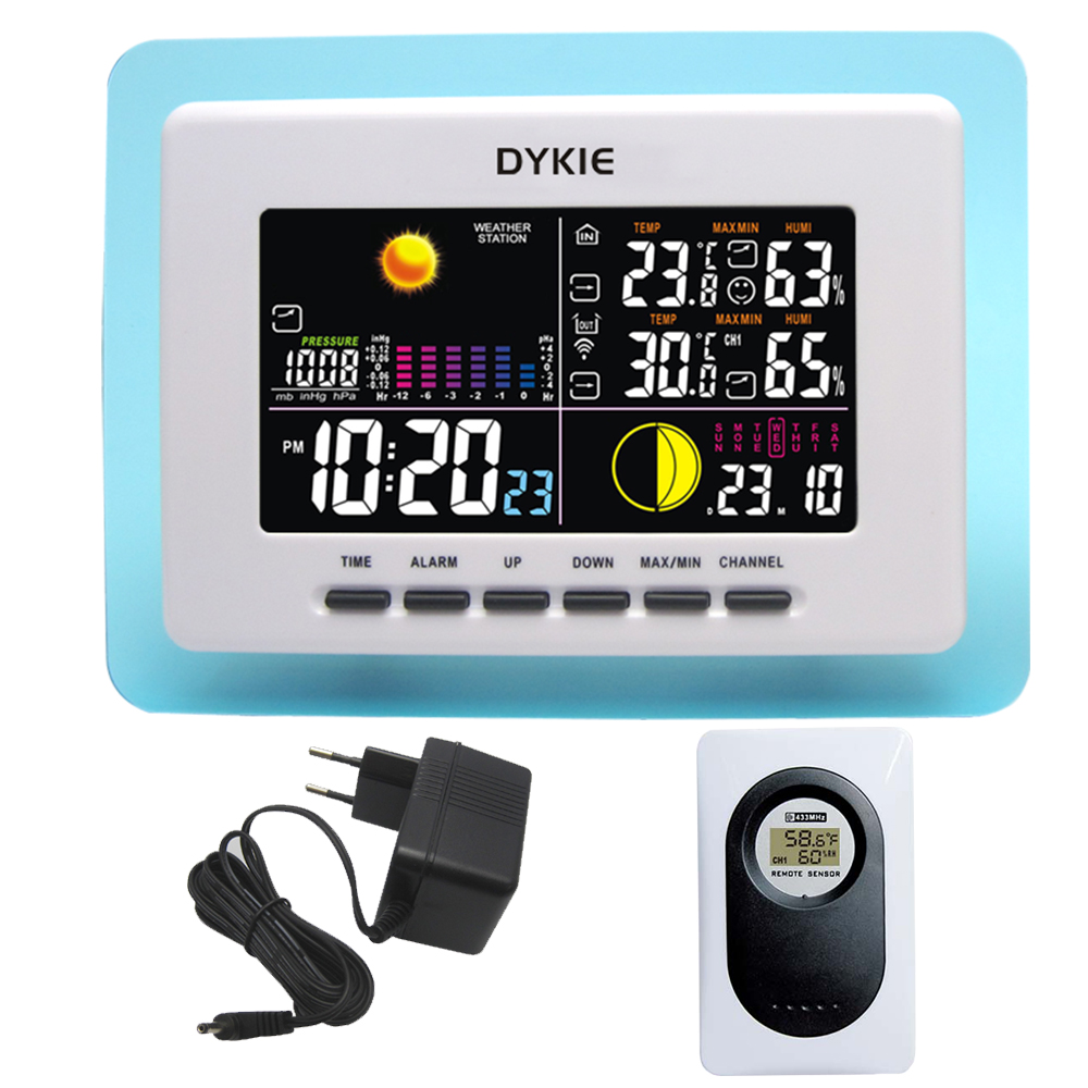 DYKIE RF RCC Wireless Weather Station with Indoor Outdoor Thermometer Hygrometer Barometer Digital Alarm Clock Power Adapter стоимость