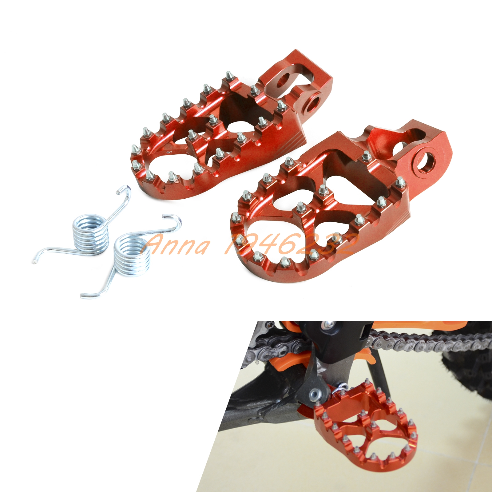 ФОТО 57mm Billet Wide CNC Foot Pegs Footrests For KTM 125 150SX  250 450 SX F and XCF models 2016 500 all 2017