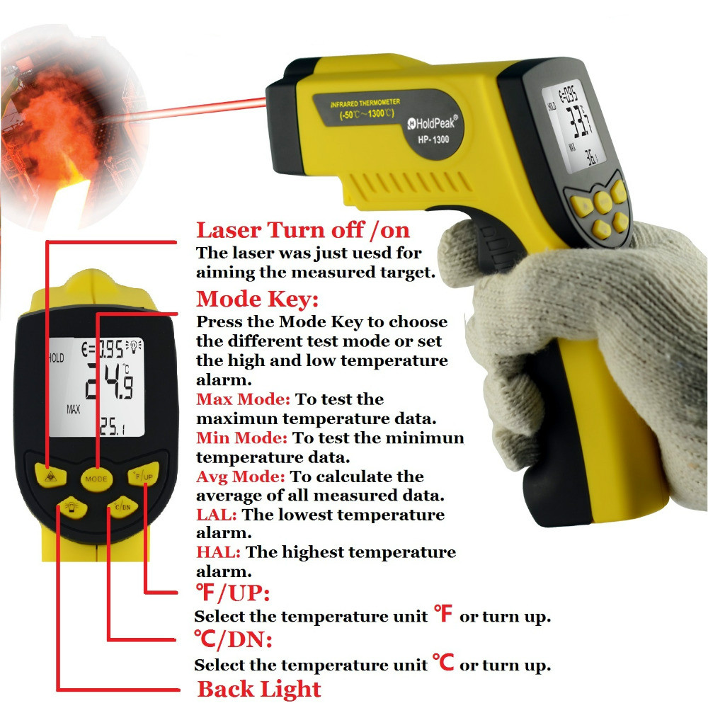 Infrared Thermometer HP-1300 Temperature Instrument