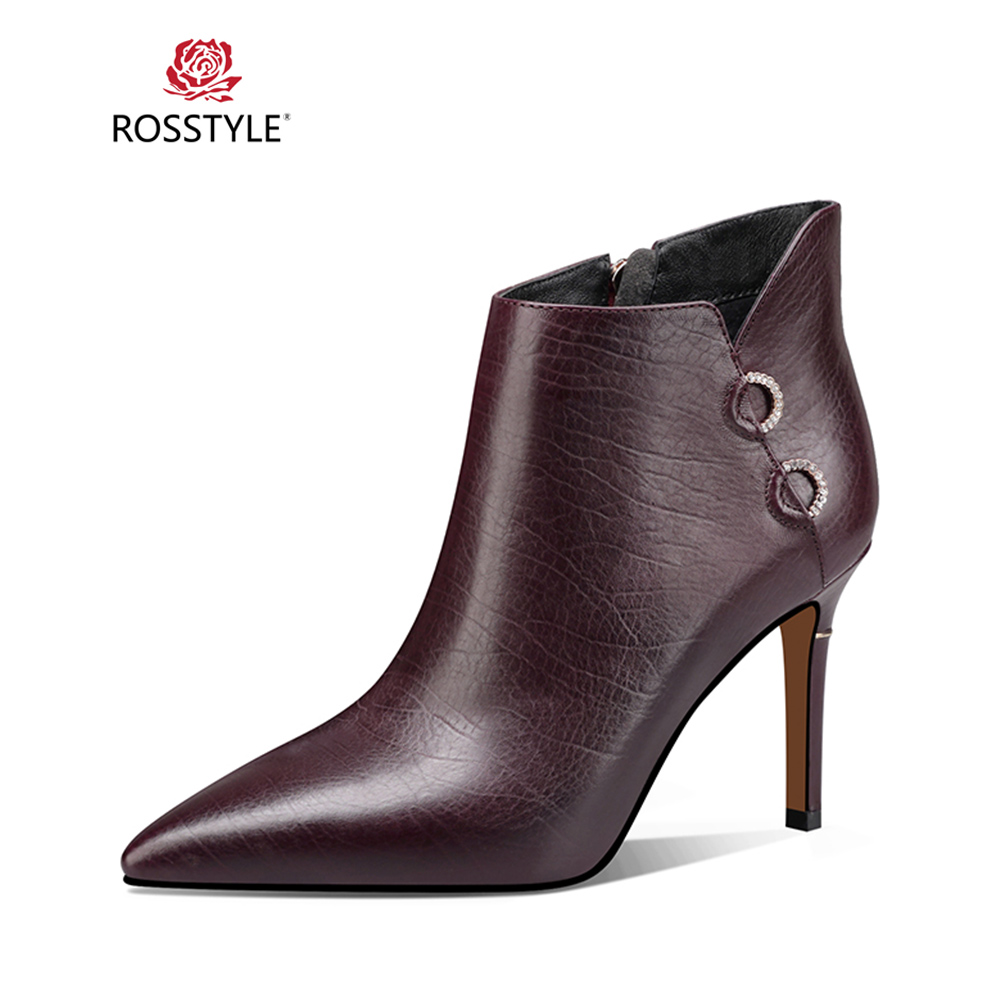 ROSSTYLE Fashion Woman Ankle Boot Comfortable Genuine Leather Thin Heel Short Boot Classic Pointed Toe Soft Casual Warm Boot B60ROSSTYLE Fashion Woman Ankle Boot Comfortable Genuine Leather Thin Heel Short Boot Classic Pointed Toe Soft Casual Warm Boot B60