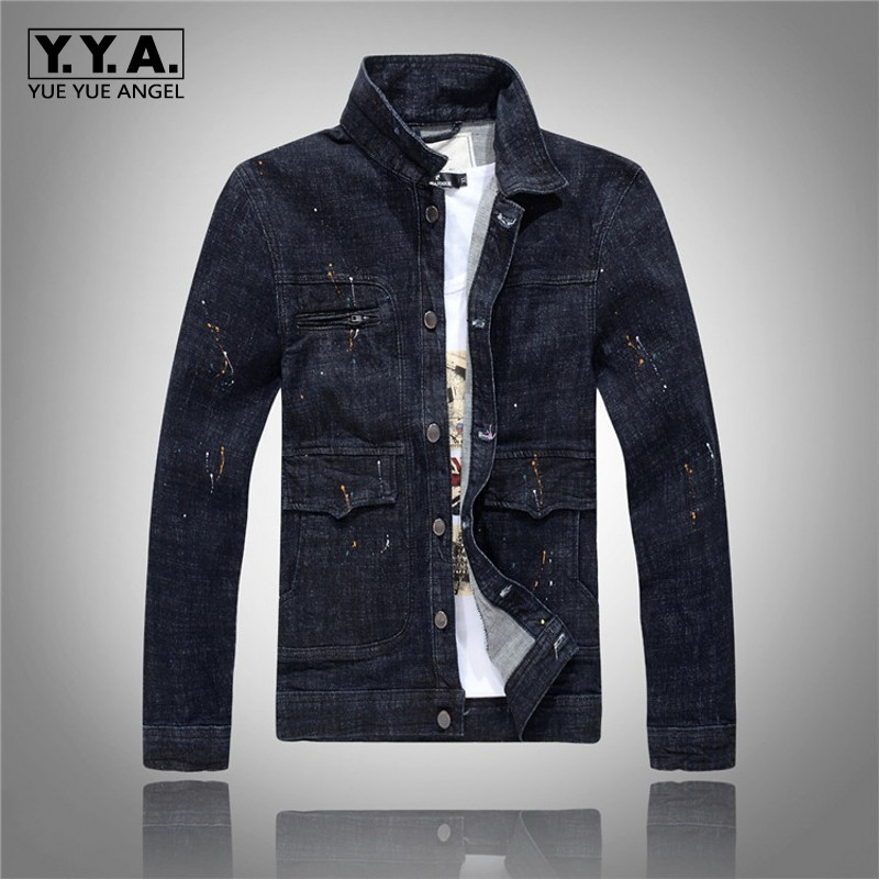 Retro Fashion Mens Denim Jacket Cool Man Casual Jeans Coats Outerwear Slim Fit Brand Clothing Motorcyle Jackets Free Shipping