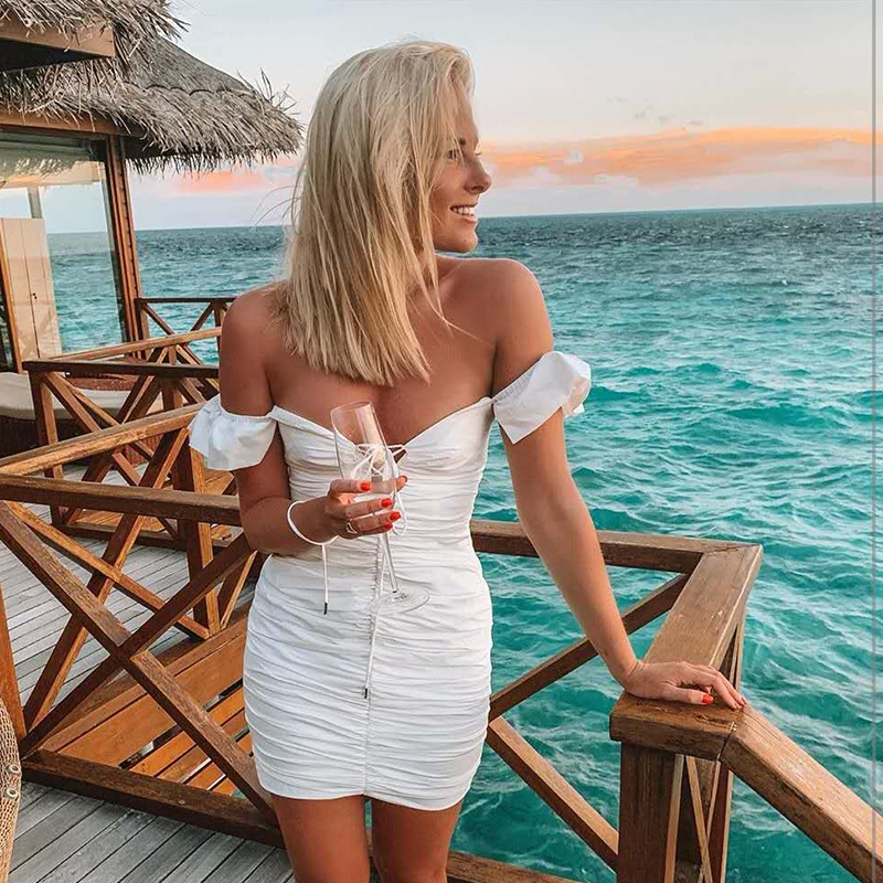 Image 3 - NewAsia 2019 White Summer Dress Women Butterfly Sleeve Deep V neck Cut Out Lace Up Ruched Sexy Dress Mini Elastic Bodycon Dress-in Dresses from Women's Clothing