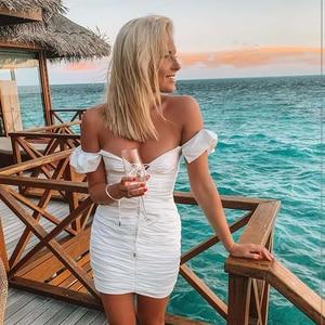 Image 3 - Женское мини платье с рюшами NewAsia, белое эластичное облегающее платье с рукавом бабочкой и глубоким v образным вырезом, на шнуровке, лето 2019