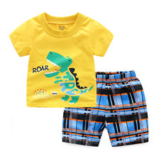 Summer New European and American  Dinosaur Cartoon Childrens Set Boys Short Sleeved T Shirt Middle Pants Suit