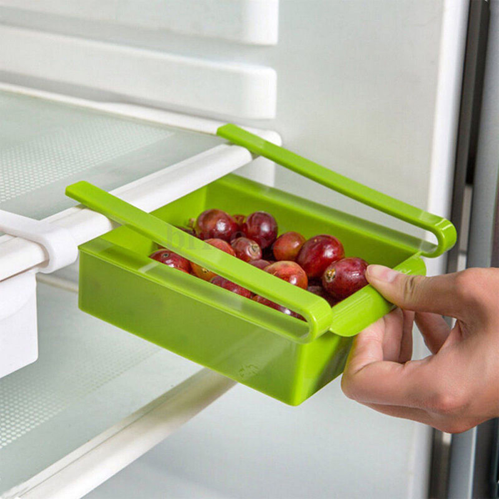Plastic Kitchen Refrigerator Food Storage Box shelves bins Rack Fridge Freezer Shelf Holder sliding Drawer Organiser Space saver