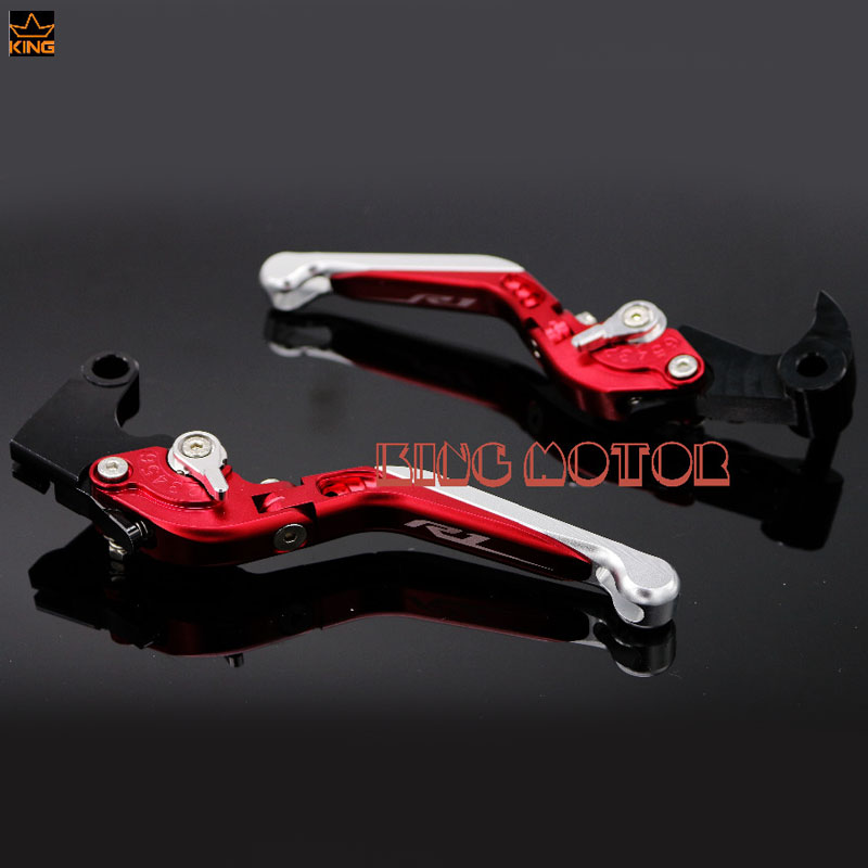 For YAMAHA YZF R1 R1S R1M YAF-R1 YZF-R1S YZF-R1M Motorcycle CNC Adjustable Folding Extendable Brake Clutch Levers LOGO R1 Red