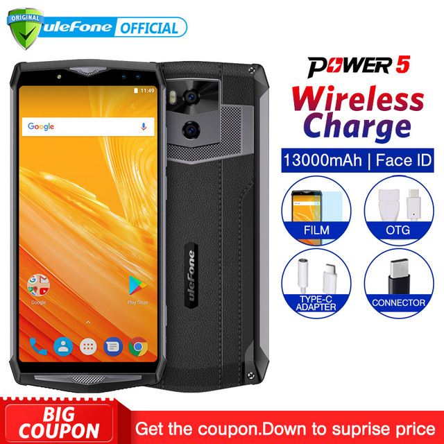 """Ulefone Power 5 13000mAh Mobile Phone Android 8.1 6.0"""" FHD MTK6763 Octa Core 6GB+64GB 21MP Face ID Wireless charge 4G Smartphone"""