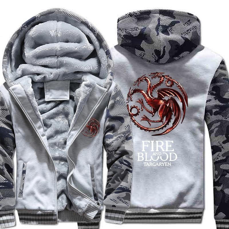 Image 3 - FIRE AND BLOOD Print Hoodies For Men 2019 Autumn Winter  Streetwear Mens Sweatshirts Game Of Thrones Hoody Targaryen Harajuku  TopHoodies