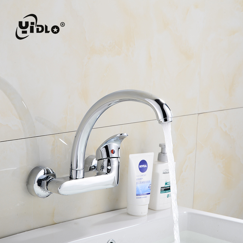 Bathroom Brass Faucet Wall Mounted Kitchen Water Faucet Single Hole Wash Pool water Faucet Wash Table Mixing Valve  A6Bathroom Brass Faucet Wall Mounted Kitchen Water Faucet Single Hole Wash Pool water Faucet Wash Table Mixing Valve  A6
