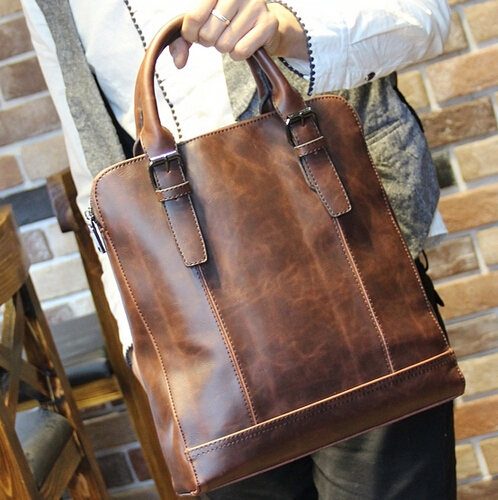 New Arrival Brand Fashion Mens Tote Bag Brown Leather Male Handbags Shoulder Messenger Bags Men S
