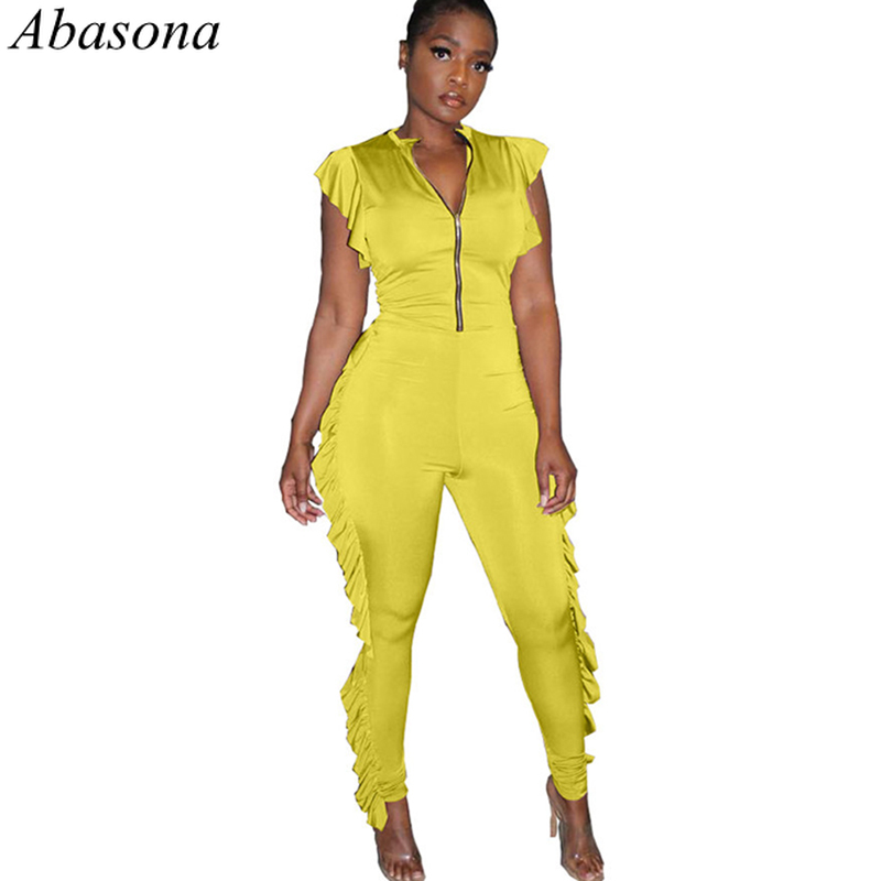 Abasona 2019 Fashion Summer Ruffles Zipper Up Rompers Womens   Jumpsuit   Black Tracksuits Sexy Club Party Overalls for Women