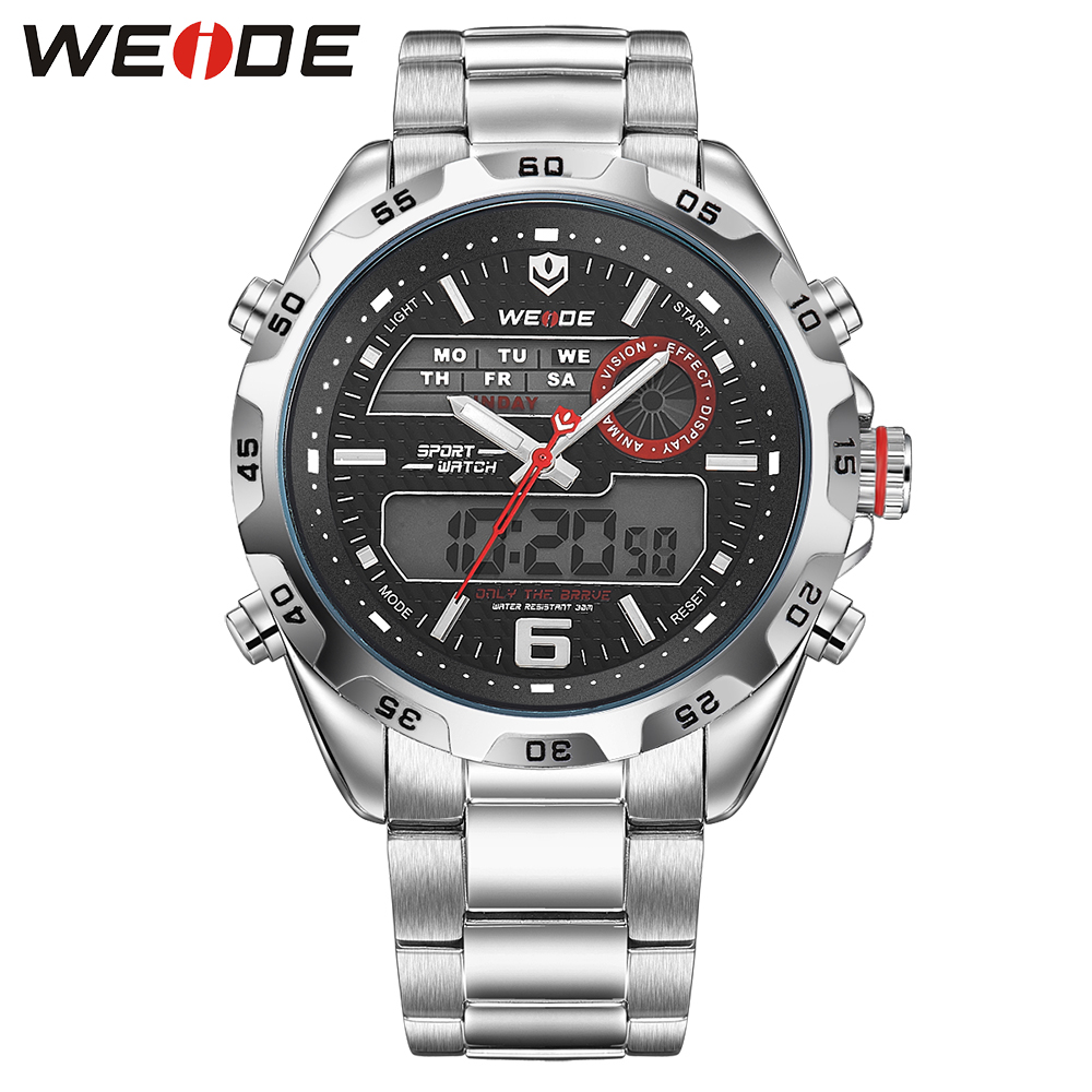 Hot Sell WEIDE Fashion Casual Men Watches  Analog Digital Display 3ATM Water Resistant LCD Watch With Full Steel Strap Gift Box weide original brand watches men sport quartz analog digital display full stainless steel famous logo watch with gift paper box