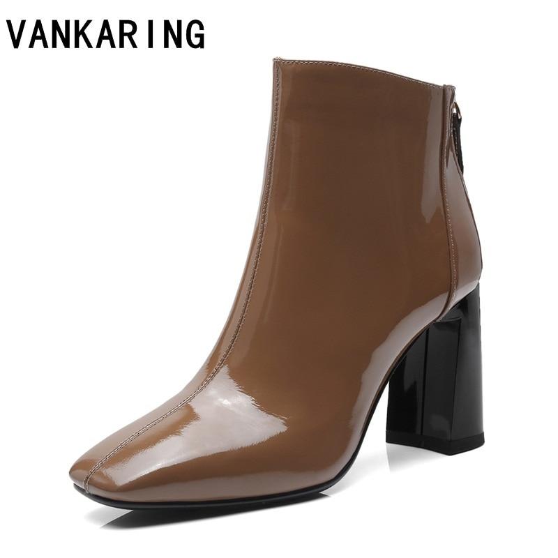 Genuino De 2018 Del Negro Tobillo Vankaring Black La Botas Las Invierno Cuadrados Mujeres khaki Mujer Altos Tacones Zapatos Cuero Otoño Moda Para Uqq0x7X