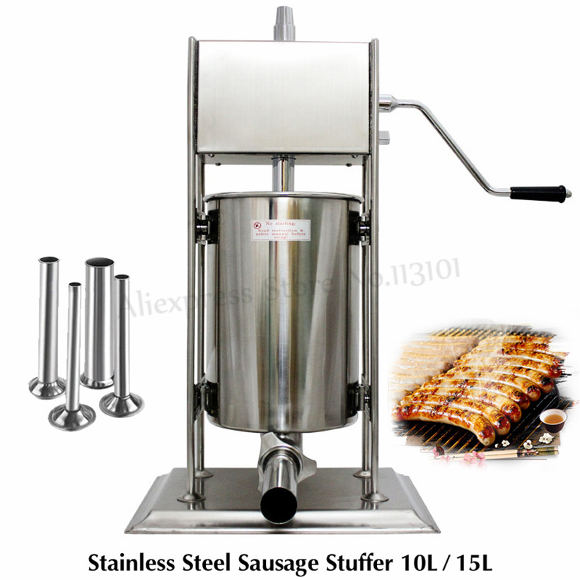 10L Sausage Meat Extruder Stainless Steel Manual Sausage Stuffer Spain Churro Maker Churros Extruding Machine