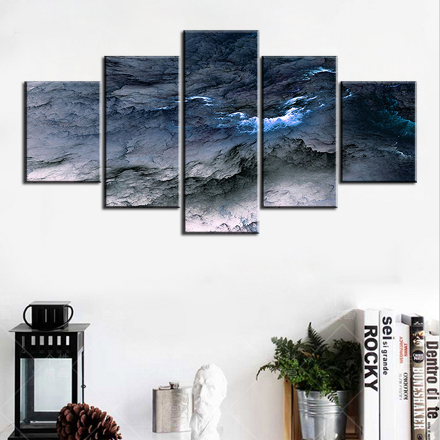 5 Pc Set Blue Grey Waves Abstract Cloud No Frame Oil Painting Canvas