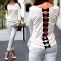 Мода Женщин Девушки Sexy Back Лук Повседневная С Длинным Рукавом Чистая Блузка Рубашка Топы