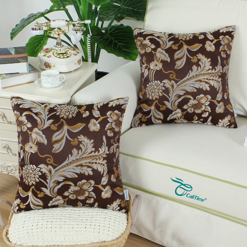 2PCS Square CaliTime Throw Pillow Covers Cases For Couch
