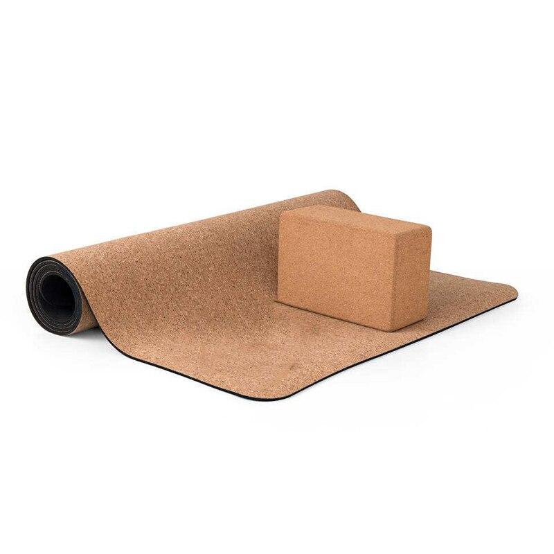 @1  5 мм нескользящие пробки натуральные TPE коврики для йоги с блоком для йоги фитнес женщины пилатес г ①