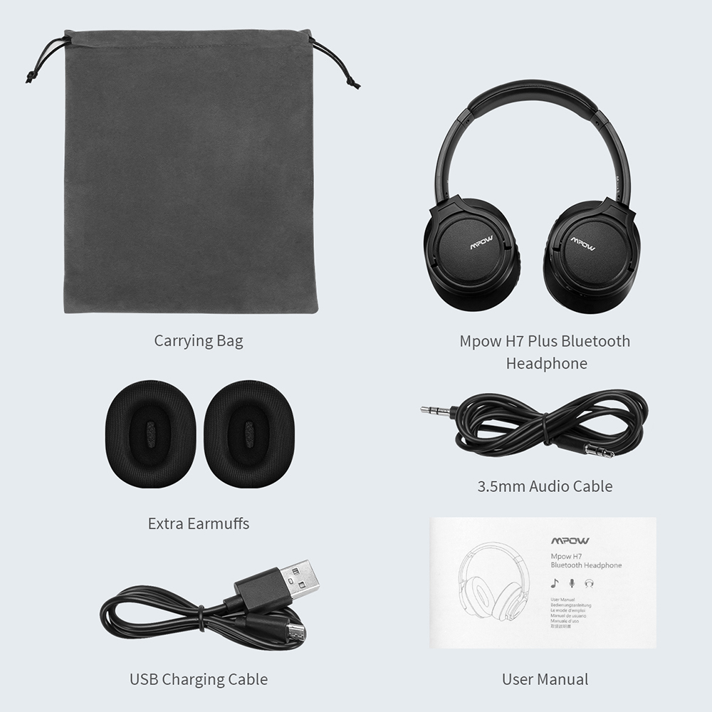 Original Mpow H7 Plus Bluetooth casque sans fil écouteurs Aptx casque avec 13 heures de temps de jeu pour iPhone X Xiaomi Huawei - 6