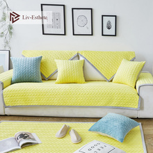 Liv-Esthete Luxury Velvet Yellow Sofa Cover Euro Nordic Living Room Corner Single Double Sizes Combination Slipcovers