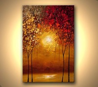HandPainted Modern Contemporary Abstract Blooming Tree Picture Handmade Wall Art Sunset Forest Palette Knife Canvas Oil
