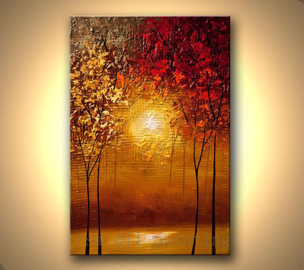 Us 43 0 50 Off Handpainted Modern Contemporary Abstract Blooming Tree Picture Handmade Wall Art Sunset Forest Palette Knife Canvas Oil Painting In