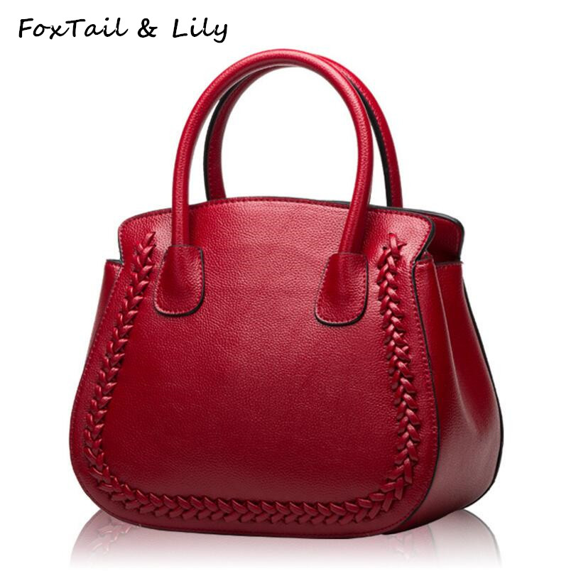 FoxTail & Lily Knit Pattern Design Small Ladies Handbags Genuine Leather Shoulder Messenger Bags Women High Quality Tote Bags