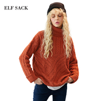 ELF SACK Women Vintage High Collar Asymmetric Sweater Womens Winter Knitted Pullover Sweaters