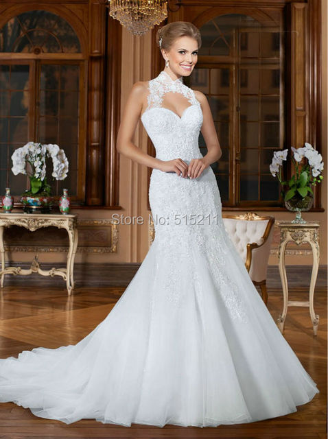 high neck open back wedding dress mermaid wedding dress organza bridal gowns robe de mariage 2017 - Aliexpress Mariage