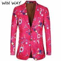 WINWAY 2018 Brand Men Fashion Christmas Floral Print Blazer Men Casual Slim Fit Pink Blazer For Festival Party