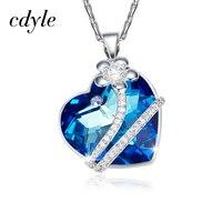 بلورات cdyle من سواروفسكي قلادة النساء المعلقات s925 فضة الأزياء والمجوهرات الأزرق القلب النمساوية الراين chic