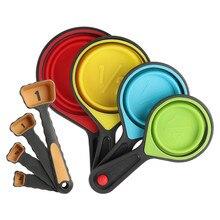الخبز قياس الكؤوس والملاعق للطي الطبخ قياس كوب FDA Silione قياس ملعقة أدوات مطبخ المنزل اكسسوارات مجموعة