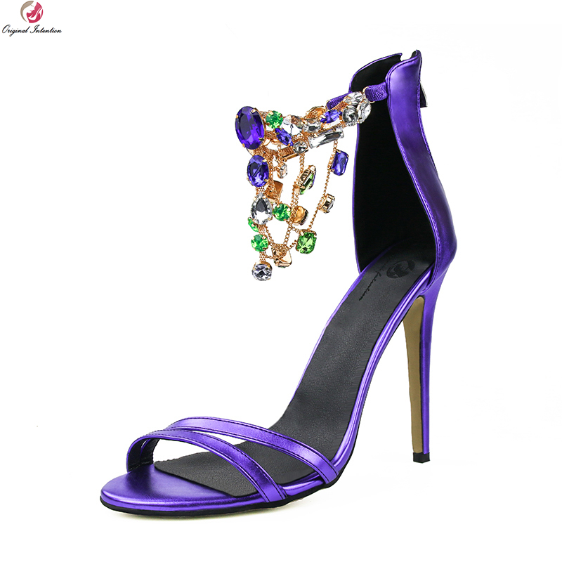 Original Intention Stylish Women Sandals Gorgeous Rhinestone Open Toe Thin Heels Elegant Purple Shoes Woman Plus US Size 4-15 zx 1038 elegant gorgeous rhinestone bride tiara golden size m
