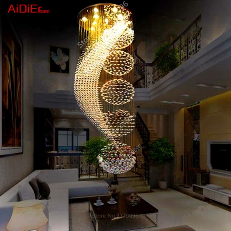 Large Retro Modern Villa Ladder Staircase Living Room Suspended Ceiling Innovative Lights