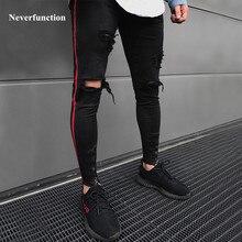 Men HIP HOP skinny motorcycle denim pants Ankle zipper designer black jeans mens