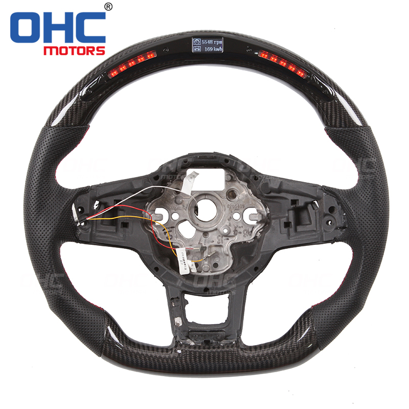 Real <font><b>Carbon</b></font> Fiber LED <font><b>Steering</b></font> <font><b>Wheel</b></font> compatible for Volkswagen <font><b>GOLF</b></font> <font><b>7</b></font> MK7 for GTI GTD GLI GT GTE R LINE PASSAT TIGUAN image