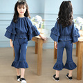 Girl Denim Suit 2017 Spring Girl Bell-bottomed Pants Jeans Suit Children Leisure Sports Denim Suit Girl Long Sleeve and Pant Set