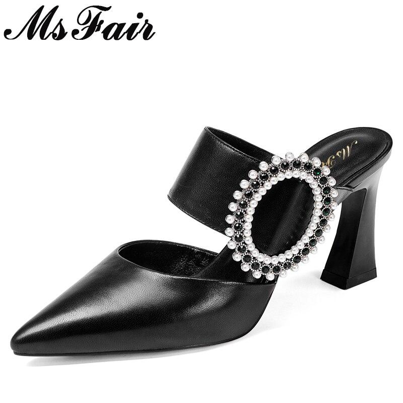 436e98ac3b8299 Talons Mode Pointu Carré Bout Sandales Noir Femmes Haute Perle Chaussures  Talon Msfair D'été Cristal De Chaîne qPRxBd