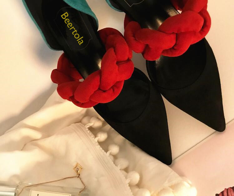 Bout Style Troupeau As Sandales De Slip Zapatos Picture Couleur Doux Talons Femme Picture Femmes Chaussures Beertola Mixte Nouvelle Mujer Pointu Tresse 2018 Haute Sur as qwF4cUZ