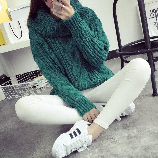 2018 nouvelles femmes de printemps automne hiver épaissir col roulé pull tricoté chandails femmes long slim chandail