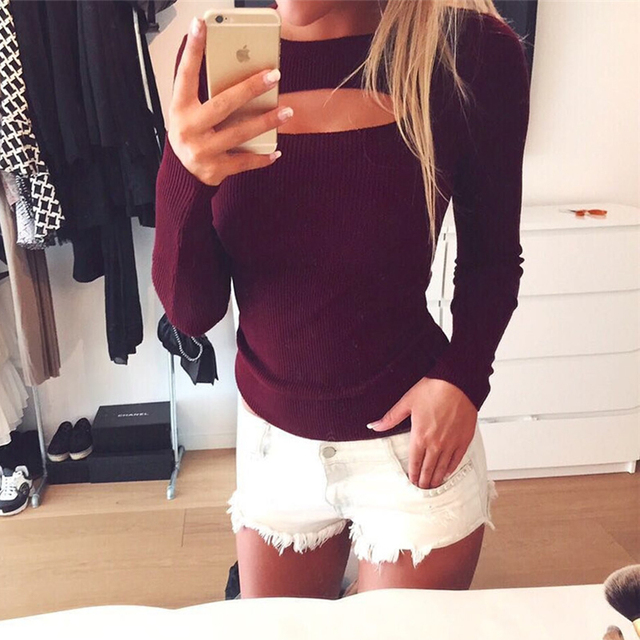 2017 Women Autumn T-Shirts Tops Knitted Shirts Hollow Long Sleeve Slim Fit Tee Top Plus Size Clubwear WS1647R