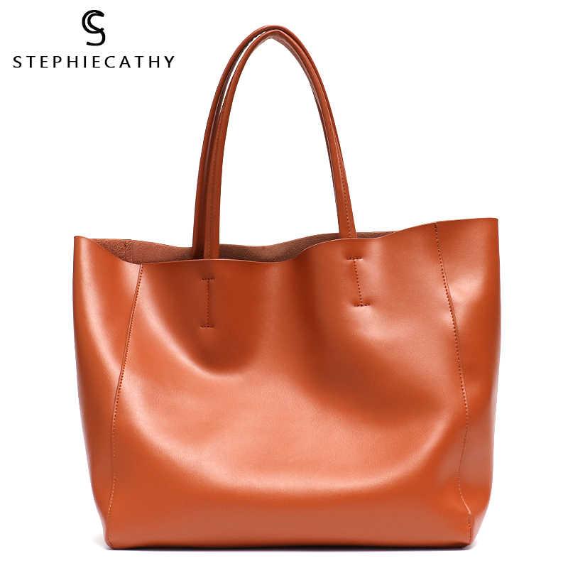 804f5a0bd SC Luxury Brand Cow Leather Tote Bags Designer Cowhide Handbags Women  Shoulder Bags Fashion Female Large