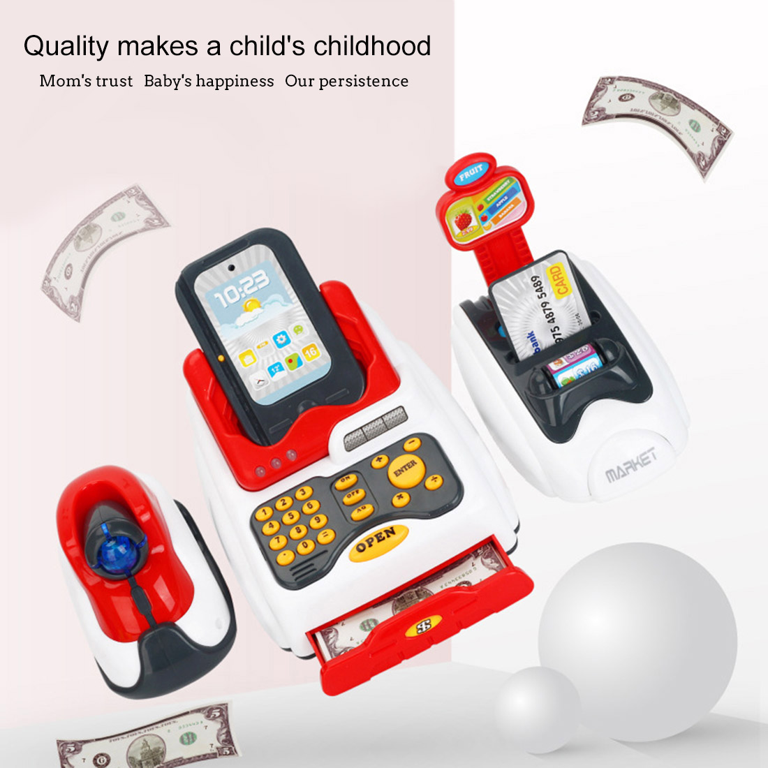 Rowsfire Lovely Children Pretend Play Toys Classic Supermarket Cash Register Toy for Children Cute Pattern Design Islamabad