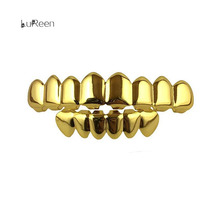 HipHop Grillz Gold Silver Plated 8 Top Teeth 6 bottom Grillz Silicone Set Christmas Vampire Jewelry Teeth