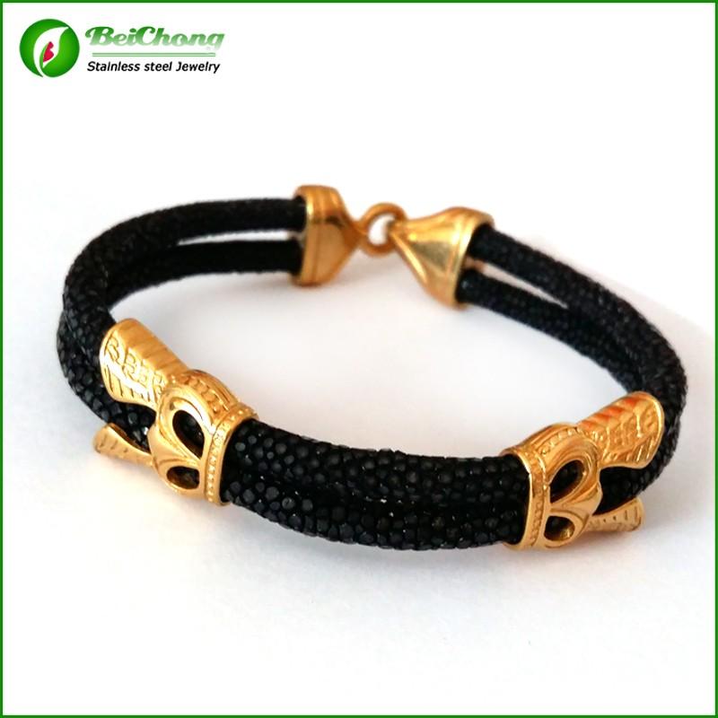 -10pcs-Fashion-Men-Leather-Jewelry-5mm-Width-Black-Leather-Stingray-Silver-Hook-Buckle-Bracelet-Bangle (1)